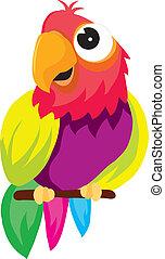 vectors represents a color illustration of a parrot on a branch