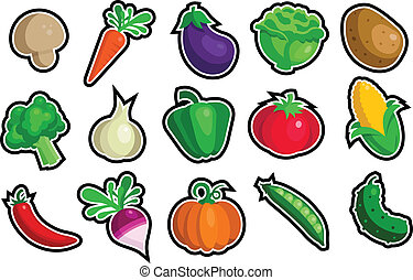 A set of vegetable icons.