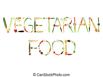 Vegetable selection spelling the words vegetarian food, over white background.