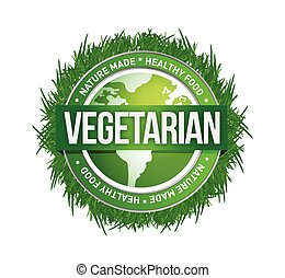 vegetarian green seal illustration design over a white background