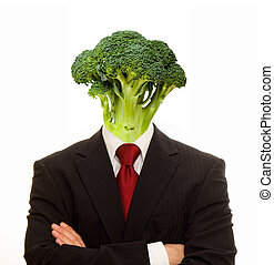 Vegetarian man with broccoli for head
