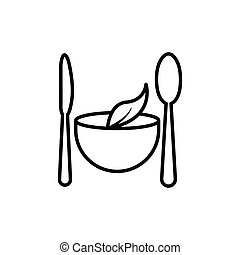 Vegetarian restaurant line icon. spoon, knife, leaf icon on top of bowl. Design template vector