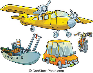 cartoon illustration of classic vehicle set collection