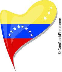 venezuela flag button heart shape vector icon.