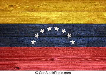 Venezuela Flag painted on old wood plank background