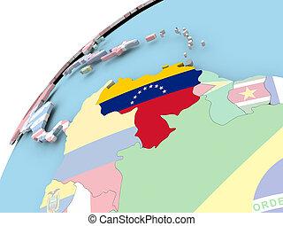Map of Venezuela on political globe with embedded flag. 3D illustration.
