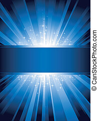 Blue light burst with sparkling stars and space for your message. 1 linear gradient, 7 global colors for easy change of color scheme. Artwork grouped and layered.