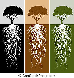 An image of a vertical tree root banner set.