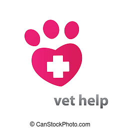 Template mark veterinary care - in the form of heart-track the animal. Vector idea.