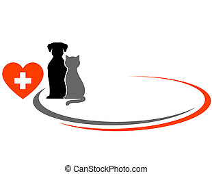 veterinarian background with animals and red heart