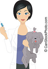 Illustration of a Vet About to Give a Dog a Shot