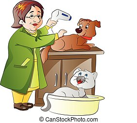 Veterinarian Taking Care of a Dog and Cat, vector illustration