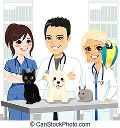 Young and happy veterinarian team at clinic with different pets