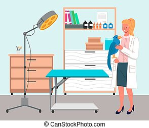 Veterinarian wooman holding big parrot. A young woman with bird. Veterinary care flat illustration