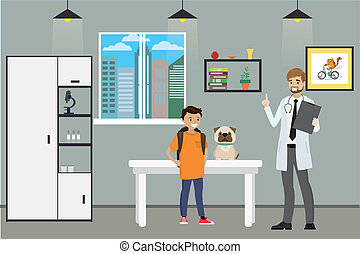 Veterinary Clinic ,male doctor and teenage with sad dog