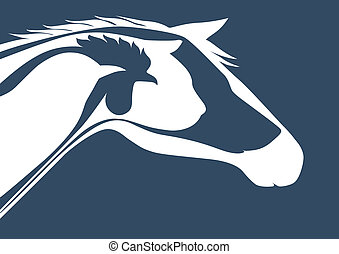 Horse, cat, dog, rooster, bird and veterinary logo
