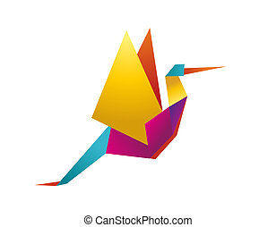 One Origami vibrant colors stork. Vector file available.