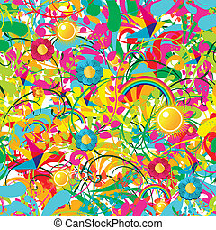 Leaf, flower and butterfly summer pattern background. Vector file layered for easy manipulation and custom coloring.