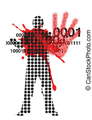 Raster male silhouette with outstretched hand and a bloodstain.