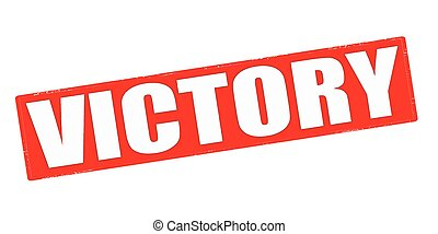 Stamp with word victory inside, vector illustration