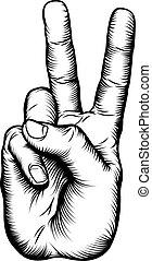 Illustration of a victory V salute or peace hand sign in a retro woodblock style