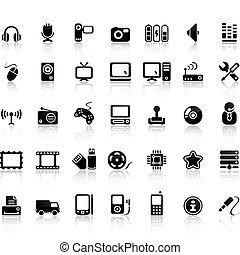 Video And Audio Vector Black Icon Set