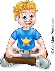 A cartoon gamer having fun playing video games