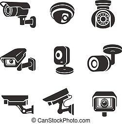 Video surveillance security cameras graphic icons pictograms set vector