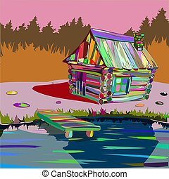 house in the forest by the lake colored wooden village