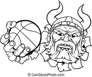 Viking Basketball Ball Sports Mascot Cartoon