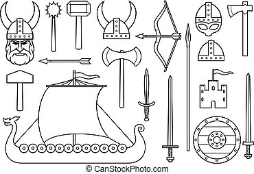 viking thin line icons collection (sword, round wooden shield, long ship, head with horned helmet, mace, hammer, arrow, bow, axe, tower, old castle)