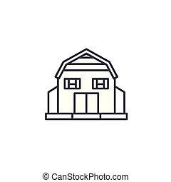 Village House linear icon concept. Village House line vector sign, symbol, illustration.