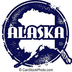 Distressed vector Alaska stamp.