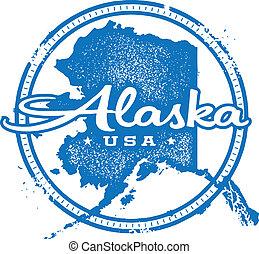 Vintage style distressed Alaska state stamp/seal.