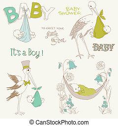 Vintage Baby Boy Shower and Arrival Doodles Set - design elements for scrapbook, invitation, cards