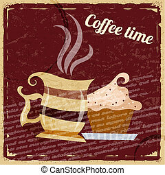 Vintage background with a cup of coffee and cake
