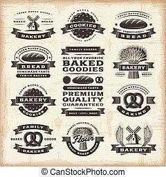 Vintage bakery labels set