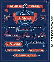Vintage banner scroll set