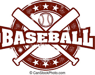 A vintage style stamp with crossed baseball bats.
