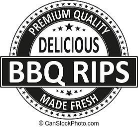 Vintage BBQ Ribs Restaurant Logo Sign on a white background