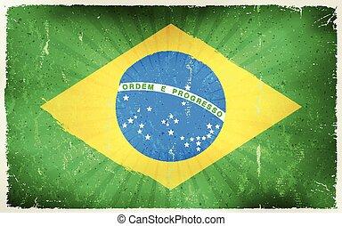 Vintage Brazil Flag Poster Background