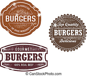 Vintage Burger Stamps