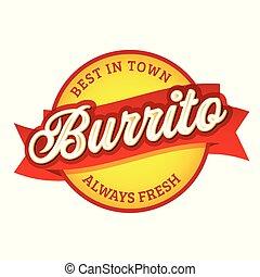 Vintage Burrito sign label lettering