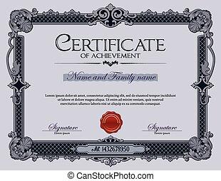 Vintage Certificate of Achievement.