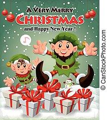 Vintage Christmas poster design wit