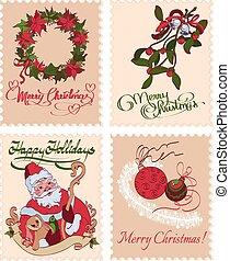 Vintage Christmas Stamps Mistletoe Wreath Greetings Seamless Pattern graphic design