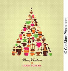 Vintage Christmas tree coffee icons