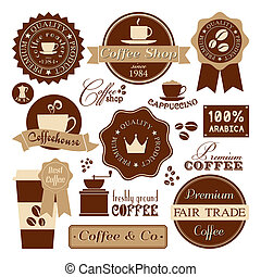 A collection of coffee design elements in retro style.