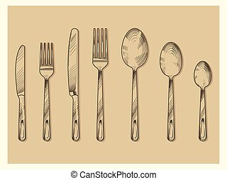 Vintage cutlery set vector design. Hand drawn knife, fork, spoon in sketch engraving style