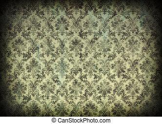 Vintage damask wallpaper with cracks and vignetting